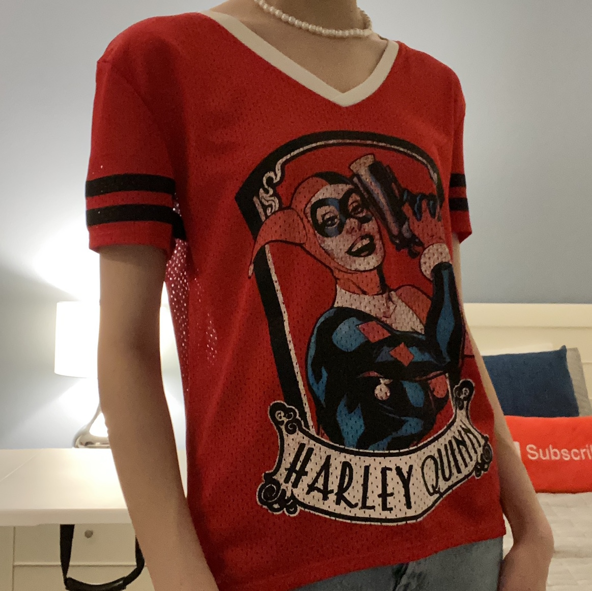 Product Image 1 - Harley Quinn V-Neck Red Tee