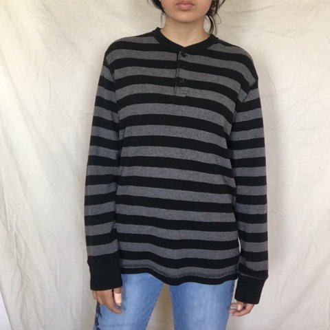 62d9d357e @jollystarclothing. yesterday. United States. 🖤Super cute black and grey striped  long sleeved thermal shirt 🖤