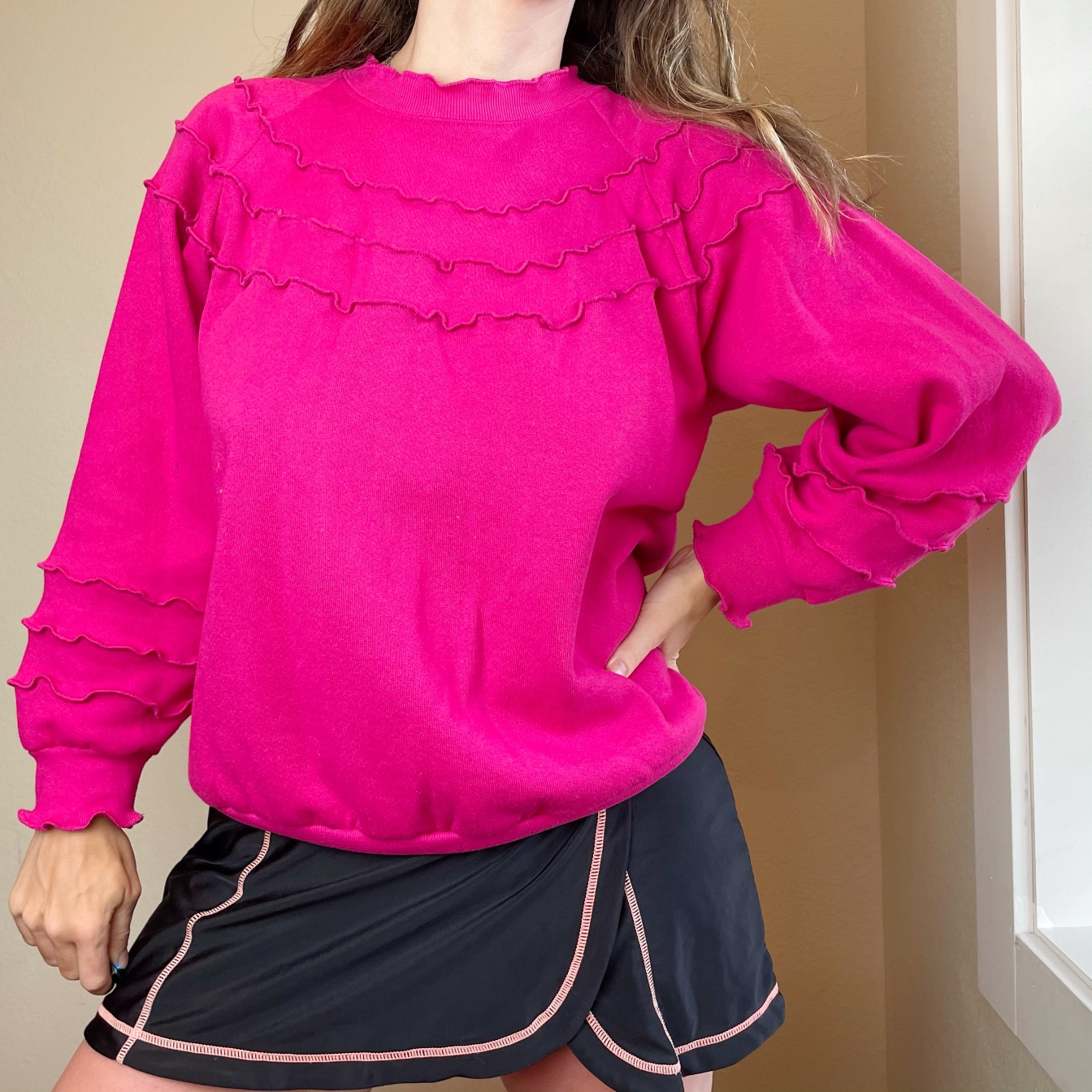 Product Image 1 - Pink ruffled sweatshirt with a