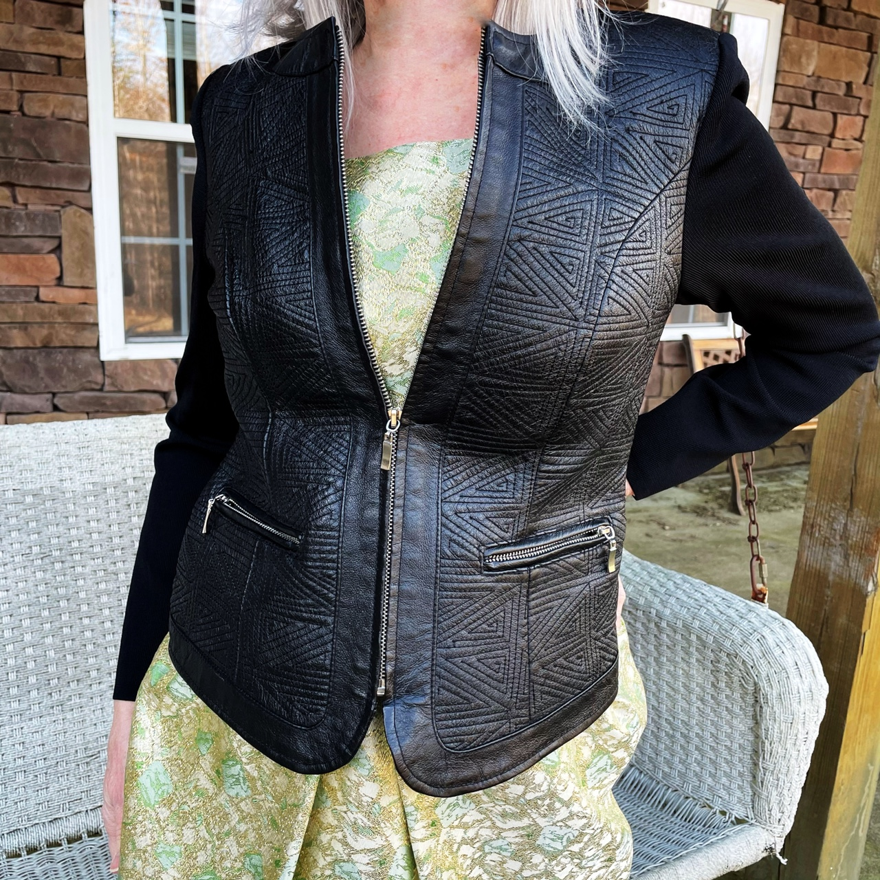 Product Image 1 - Quilted black leather jacket with