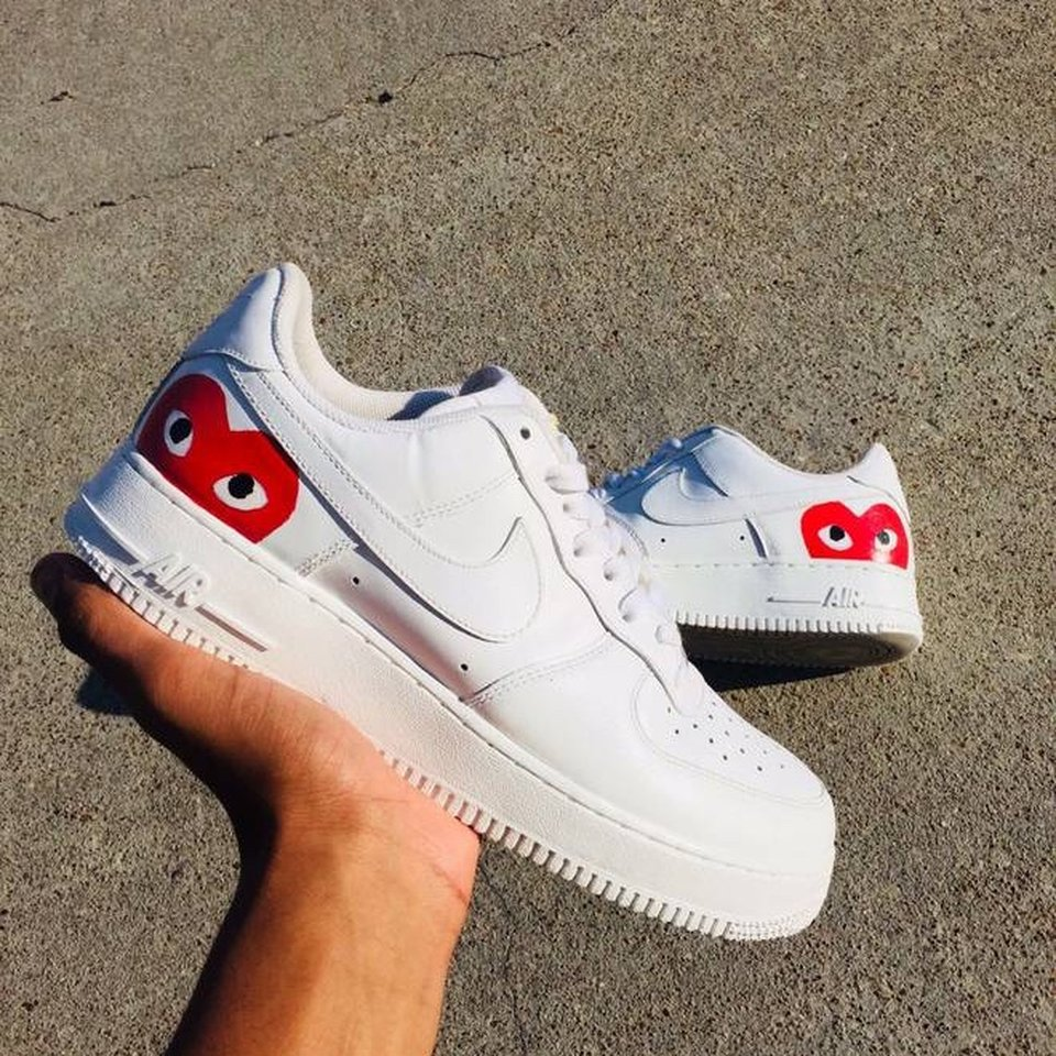 Custom Nike Air Force 1 with red CDG / Comme des... - Depop