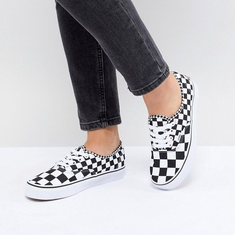 Vans authentic mix checker black and white checkered... - Depop