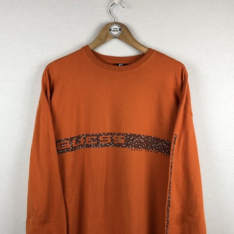 376aba759b1d @notonlyvintage18. 25 days ago. Farnham, United Kingdom. Vintage orange  Guess Jeans Long sleeve t-shirt, with the ...