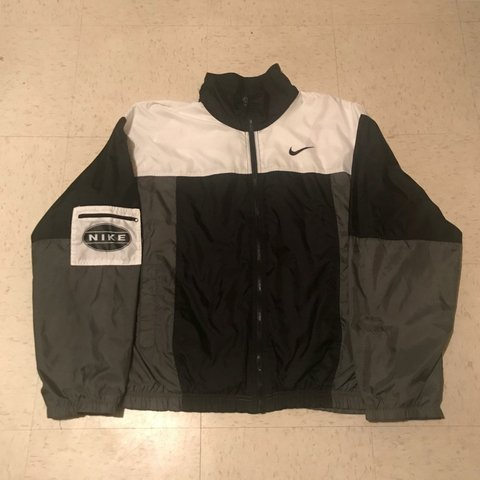 1097853df 9/10 VTG Condition Big Nike White Tag Full Zipup Windbreaker - Depop